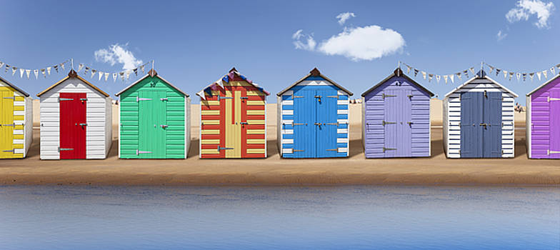 Seaside Beach Huts by Gillian Dernie