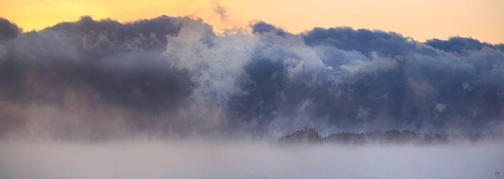Sea Smoke at Owls Head Panorama by John Meader