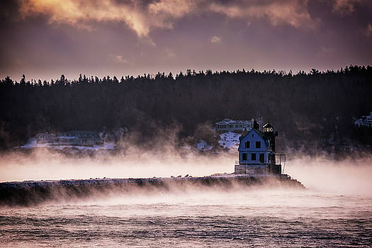 Sea Smoke at Rockland Breakwater by Rick Berk