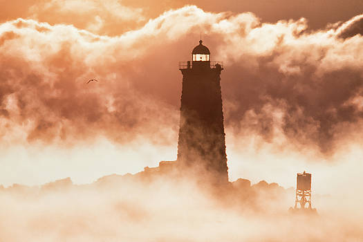 Sea Smoke at Whaleback Lighthouse by Eric Gendron