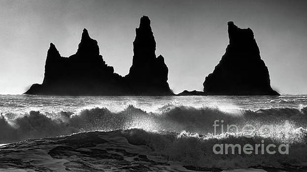 Sea Stacks in Ruff Surf BW by Jerry Fornarotto