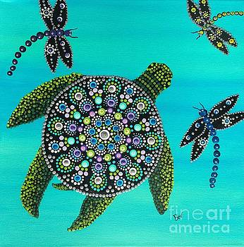 Sea Turtle and Dragonflys Mandala by Beverly Livingstone