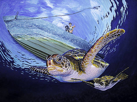 Sea turtle family Original Oil Painting 30x40x1.5 inch by Manuel Lopez