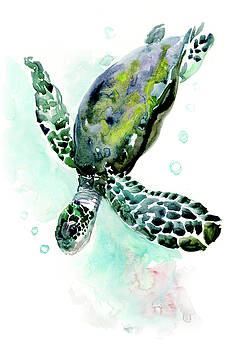 Sea Turtle UNDERWATER SCENE DESIGN BEAUTIFUL TURTLE GIFT by Suren Nersisyan