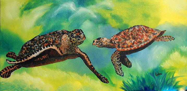 Sea Turtles and Dolphins by Susan Kubes