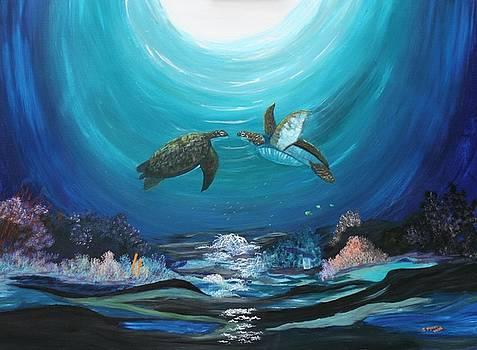 Sea Turtles Greeting by Myrna Walsh