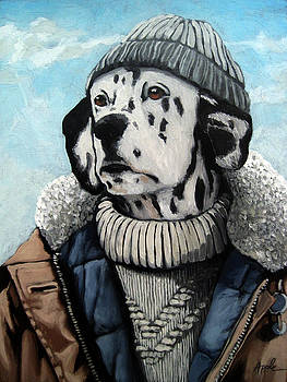 Seadog - Dalmation animal art by Linda Apple