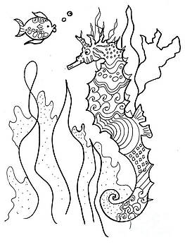 Seahorse and Fish Coloring Book Image by Robin Maria Pedrero