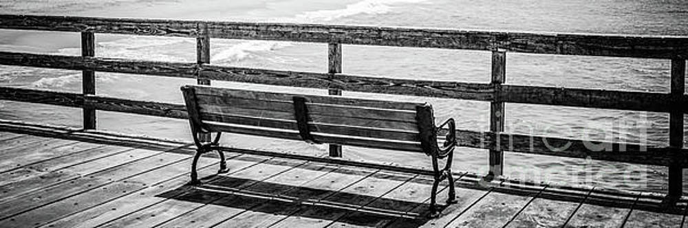 Paul Velgos - Seal Beach Pier Bench Black and White Photo