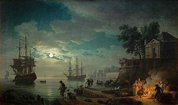 Claude-Joseph Vernet - Seaport By Moonlight