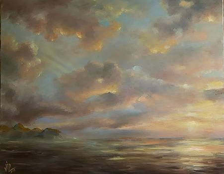 Vali Irina Ciobanu - Seascape sunset .Tranquility. Oil on canvas