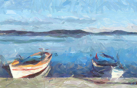 Seascape with boats by Sergey Lukashin