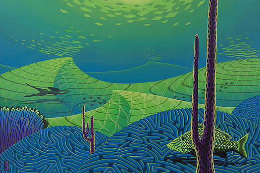 Seascape With Brain Coral And A Blue Striped Grunt by Guy Radcliffe