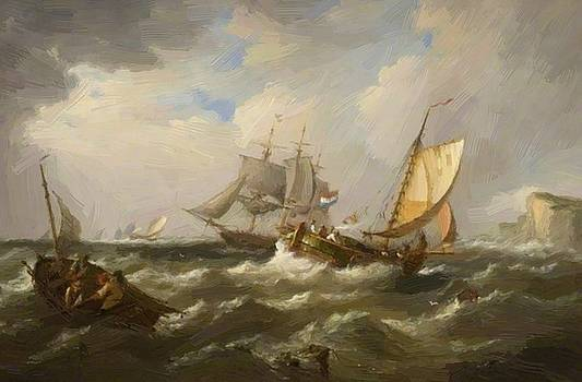 Webb James - Seascape With French Shipping