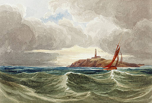 Attributed to James Bulwer - Seascape with Lighthouse
