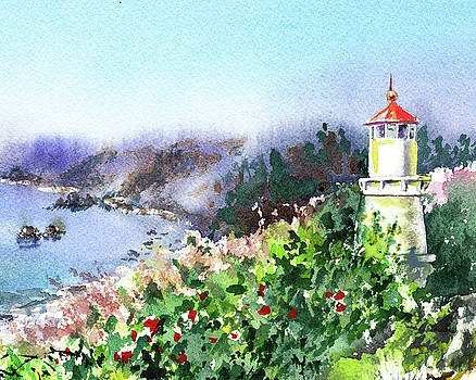 Seascape With Lighthouse by Irina Sztukowski