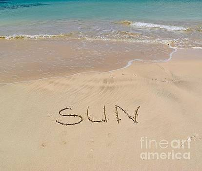 Seascape with word Sun by Inessa Williams