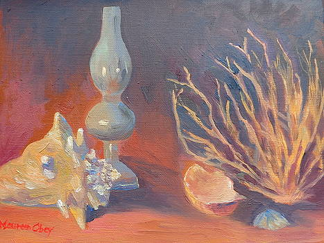 Seashells and Lantern by Maureen Obey