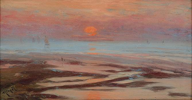 Seaside with red moon by Gustave Albert