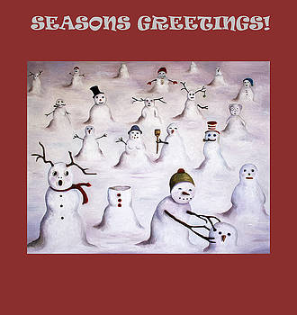 Leah Saulnier The Painting Maniac - Seasons Greetings with Snowmen