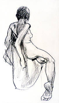Seated female Nude from back by Roz McQuillan