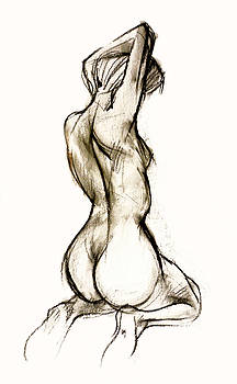 Seated female Nude by Roz McQuillan