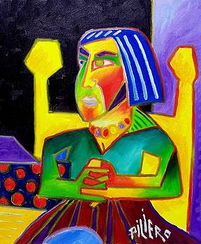 Seated Woman Yellow Chair by Nick Piliero