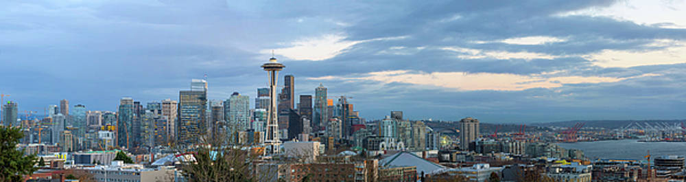 Seattle City Skyline at Dusk Panorama by David Gn