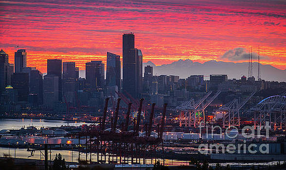 Seattle Cityscape and Port Sunrise Fire by Mike Reid