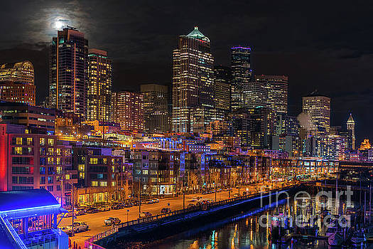 Seattle Cityscape Full Moonrise by Mike Reid