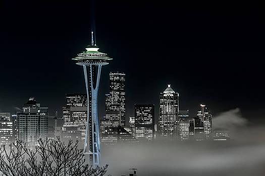 Seattle Foggy Night Lights in BW by Ken Stanback
