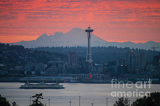 Seattle Icons Sunrise by Mike Reid