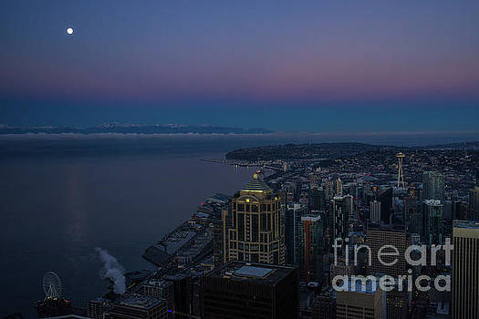 Seattle Moonset Sunrise Light by Mike Reid