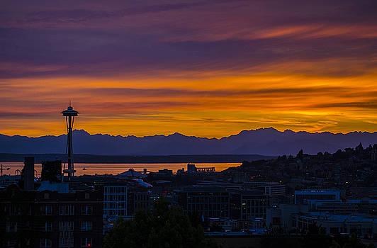 Pelo Blanco Photo - Seattle Olympic Mountain Range Sunset