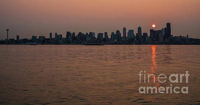 Seattle Red Skies Dawn by Mike Reid