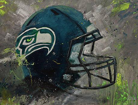 Seattle Seahawks Football Helmet Wall Art by Gray Artus
