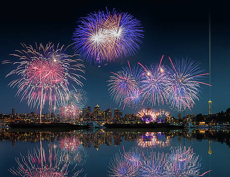 Seattle skyline and fireworks with reflections by William Lee
