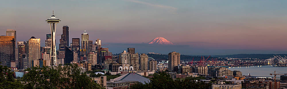 Seattle Skyline and Mt. Rainier Panoramic HD by Adam Romanowicz