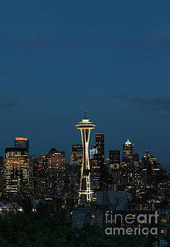 Seattle Skyline and Space Needle at Night by Brandon Alms