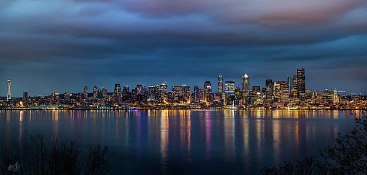 Seattle Skyline at Dusk by Thomas Ashcraft
