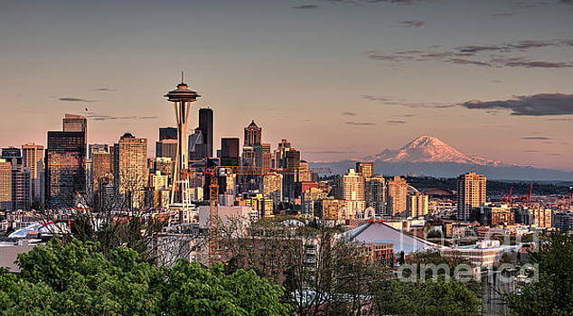 Seattle Skyline at Sunset with Mount Rainier in the Background by Brandon Alms