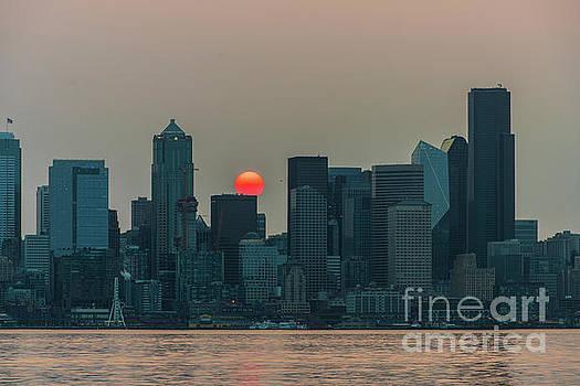 Seattle Skyline Red Sunrise by Mike Reid