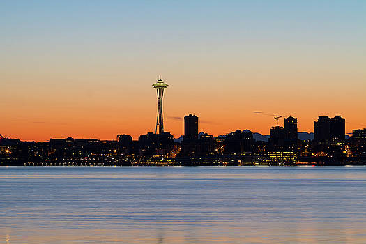 Seattle Skyline Silhouette at Sunrise by David Gn