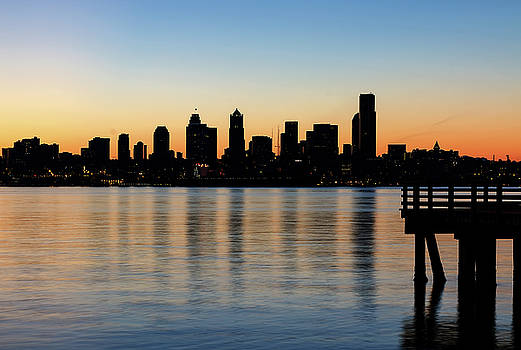 Seattle Skyline Silhouette at Sunrise from the Pier by David Gn