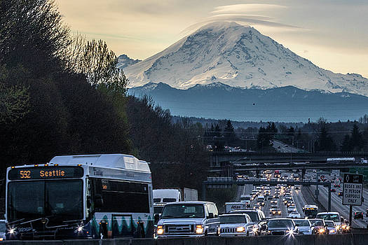 Seattle Traffic and Mount Rainier by Matt McDonald