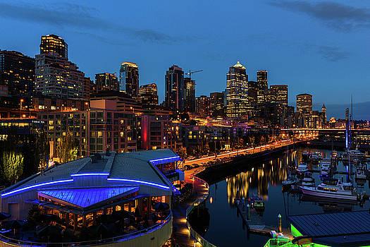 Seattle Waterfront at Night by Dennis Kowalewski