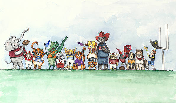SEC Football Mascots - Sports Watercolor Print by Annie Laurie