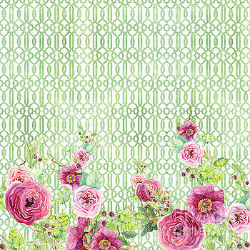 Secret Garden 2 - Peony n Rose Fern Hops, Berries and Trellis by Audrey Jeanne Roberts