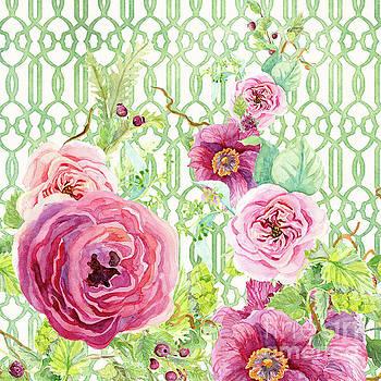 Secret Garden 2 - Single Peony Fern Hops and Trellis by Audrey Jeanne Roberts