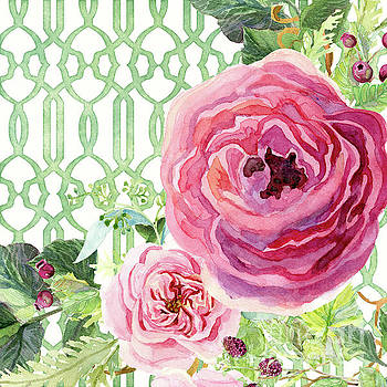 Secret Garden 3 - Pink English roses with Woodsy Fern, Wild Berries, Hops and Trellis by Audrey Jeanne Roberts